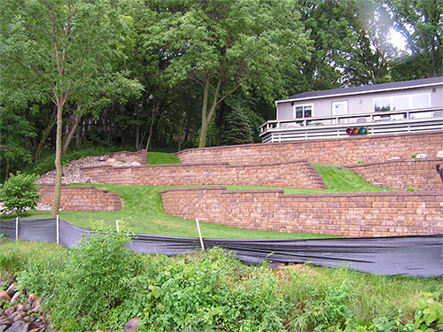 Multi-tiered Block Retaining Wall