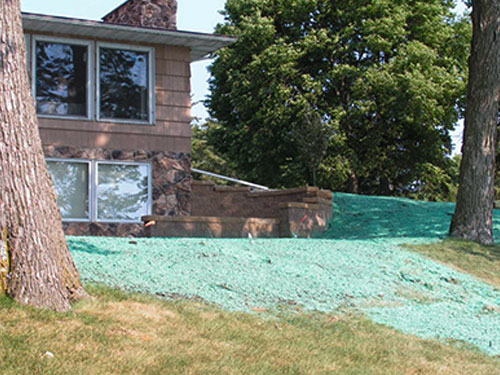 Mixture of grass seed, water, mulch, and fertilizer sprayed on lawn to promote quick grass growth | Hydroseeding